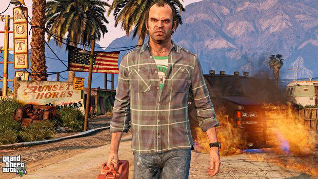 GTA 5 screenshot of a character walking away from a blazing inferno