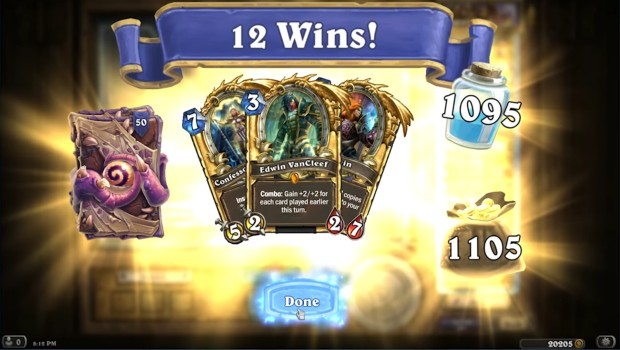 Hearthstone's Heroic Tavern Brawl 12 win screenshot