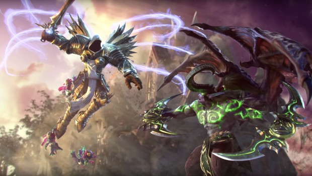 Heroes of the Storm artwork featuring Illidan fighting Tyrael