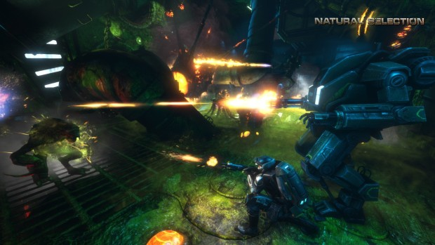 Natural Selection 2 screenshot showcasing mechs fighting aliens