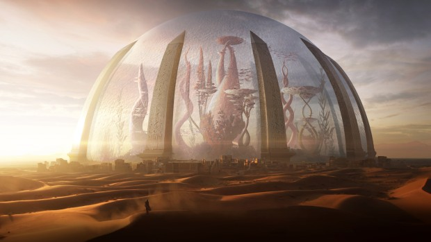 Torment: Tides of Numenera artwork showcasing a massive shrouded city