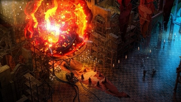Wasteland 3 screenshot showcasing a cult and a giant fireball