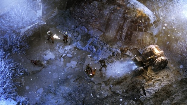 Wasteland 3 screenshot showcasing a snow covered vehicle