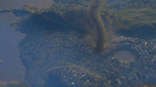 Natural Disasters DLC screenshot from Cities: Skylines showing a tornado in action