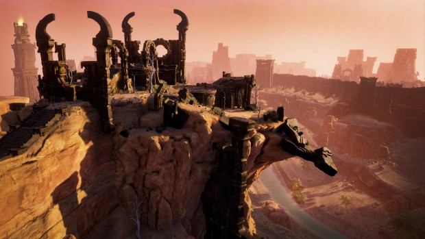 A screenshot from Conan Exiles showing a city on a cliffside
