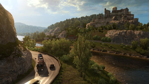 Euro Truck Simulator 2 Vive la France DLC screenshot showing a castle on a hill