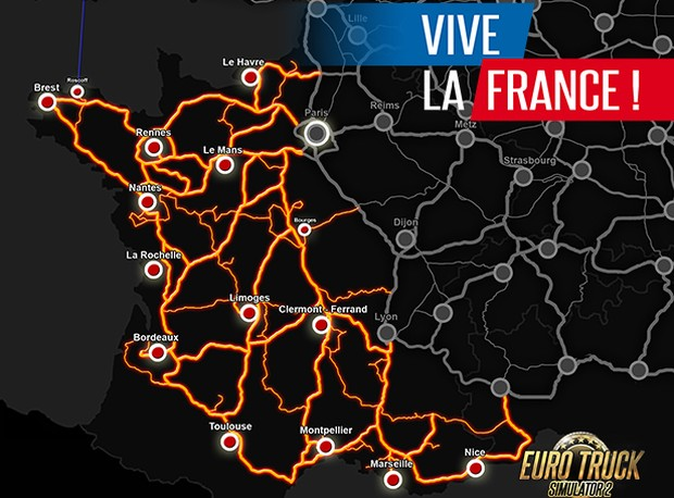 Euro Truck Simulator 2 Vive la France dlc map showing all of the cities you can explore