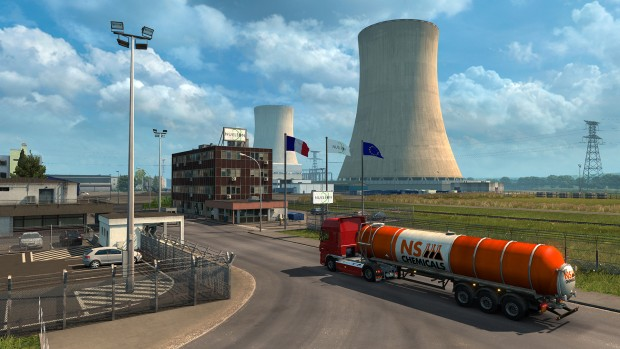 Viva la France DLC for Euro Truck Simulator showing off a giant power plant