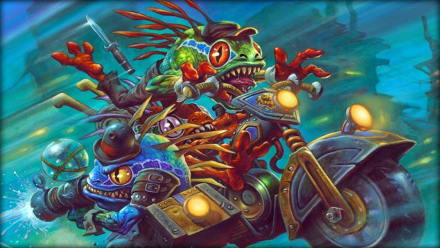 Hearthstone's Mean Streets of Gadgetzan artwork showing a bunch of Murlocks on motorcycles