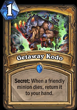 Hearthstone's Mean Streets of Gadgetzan card Getaway Kodo from the new expansion