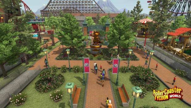 RollerCoaster Tycoon World screenshot showing a lovely park entrance