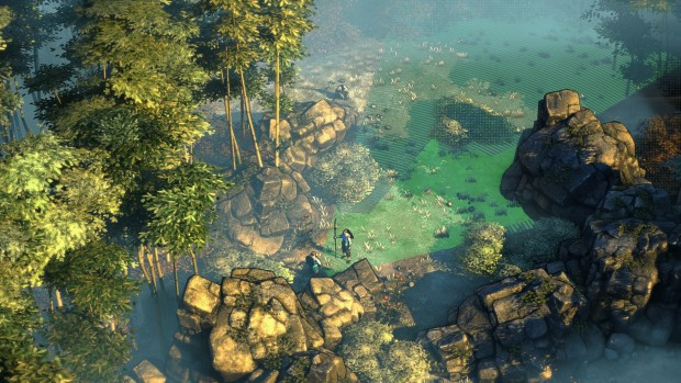 Shadow Tactics: Blades of the Shogun - sneaking through the forest