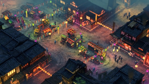Shadow Tactics: Blades of the Shogun screenshot showing a marketplace and a bunch of ninjas