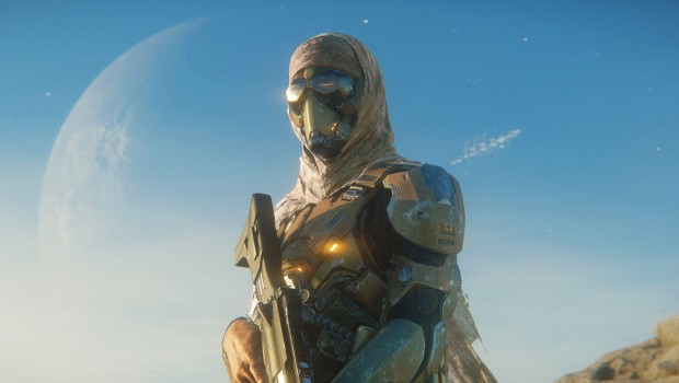 Star Citizen's player character on a sand planet