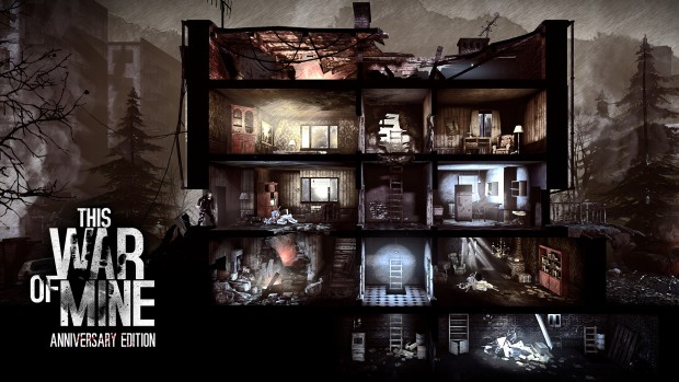This War of Mine Anniversary Edition screenshot showing off some destroyed buildings
