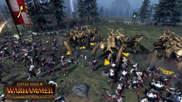 Total War: Warhammer Realm of the Wood Elves DLC screenshot showing treants on the battlefield