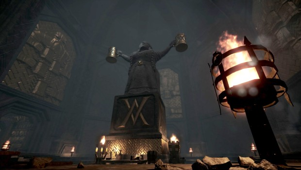 Warhammer End Times Vermintide screenshot from Karak Azgaraz showing a giant dwarven statue