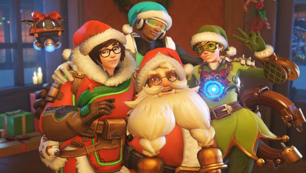 Overwatch cast dressed up as Santa and his elves