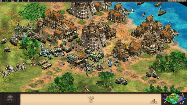 Age of Empires 2 HD: Rise of Rajas expansion screenshot showing off elephants in battle