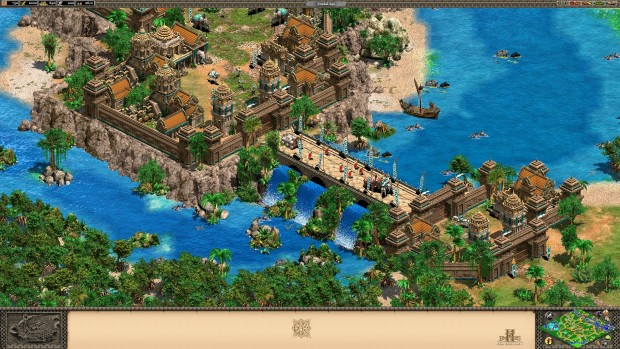 Age of Empires 2 HD: Rise of Rajas screenshot showing an island city