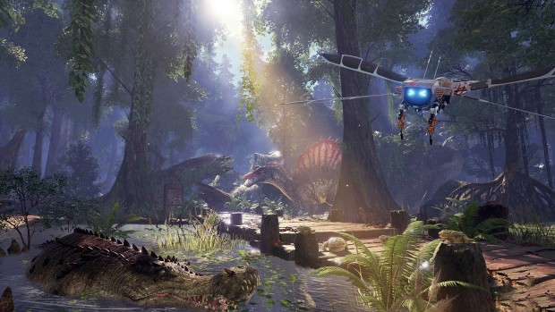 Ark Park screenshot featuring a robotic mosquito and many dinosaurs