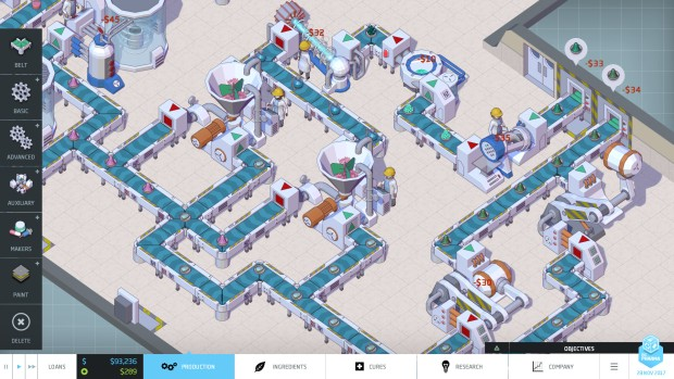 Big Pharma 3 screenshot showing a production line at work