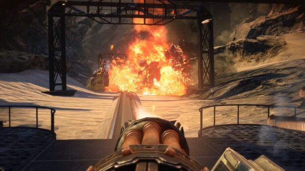 Bulletstorm: Full Clip Edition screenshot showing off some exploding vehicles