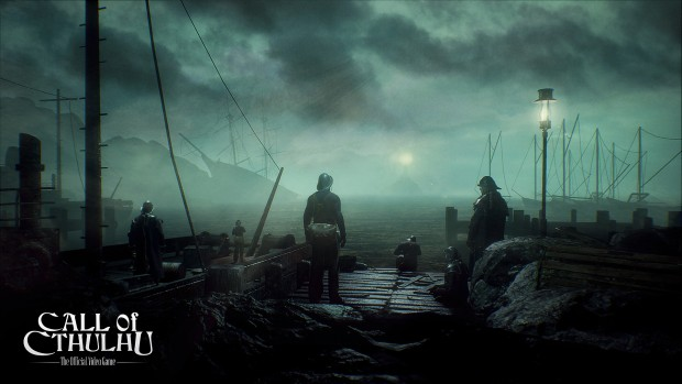 Cyanide's Call of Cthulhu game screenshot showing a bunch of guards near the sea