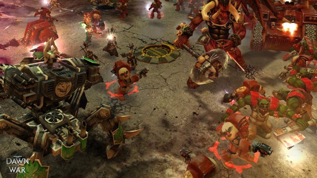 Warhammer 40k: Dawn of War screenshot showing a rather chaotic battle