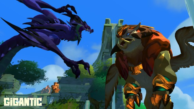 Two giant characters from Gigantic fighting