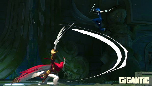 A battle screenshot from the upcoming MOBA Gigantic