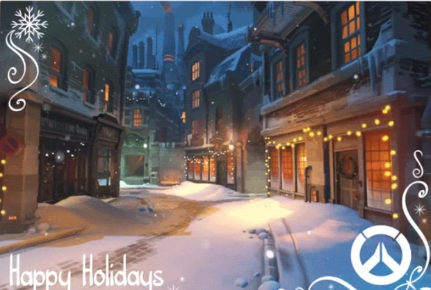 The Christmas themed Overwatch map King's Row