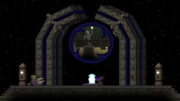 Starbound's Ancient Gateway being used as a teleporter