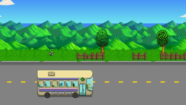 Stardew Valley intro screenshot showcasing the bus