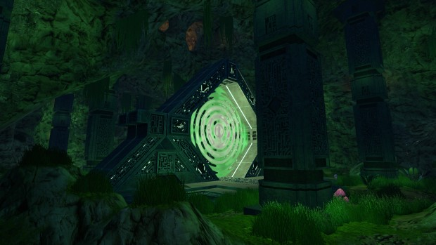 Subnautica Precursor screenshot showcasing an alien gateway portal