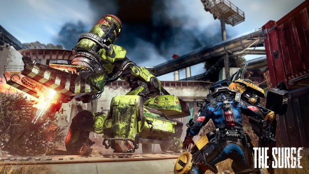 The Surge's main character fighting against the boss from the trailer