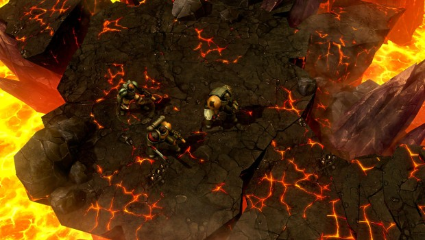Warhammer 40k: Space Wolf - Space Marines fighting on a lava planet
