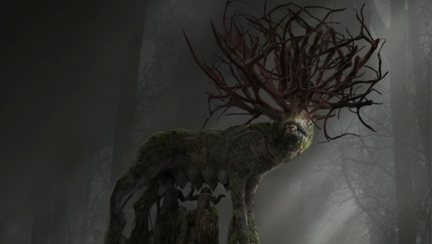 Allison Road artwork showing a creepy wooden wolf