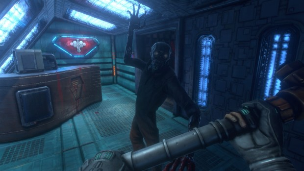 System Shock Remastered's zombie enemy attacking the player