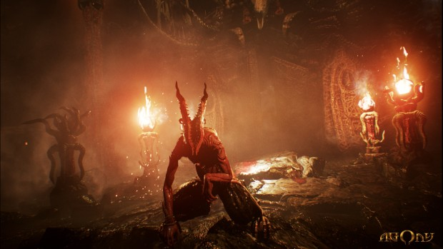 Agony game screenshot showing a demon from hell