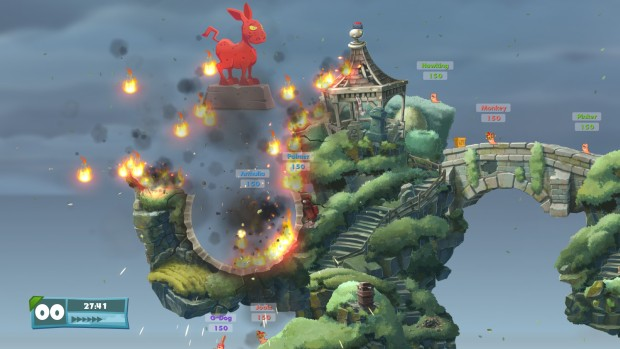 Worms W.M.D screenshot showing the donkey statue
