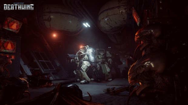 Space Hulk: Deathwing's atmoshperic screenshot showcasing the ship interior