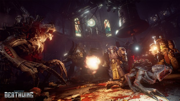 Space Hulk: Deathwing screenshot showcasing a desperate battle against Genestealers
