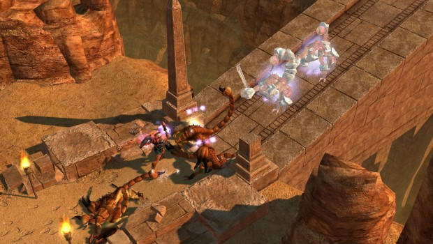 Titan Quest's Anniversary Edition screenshot of a desert battle