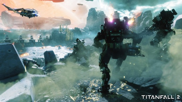 Titanfall 2 multiplayer screenshot showcasing plenty of mechs