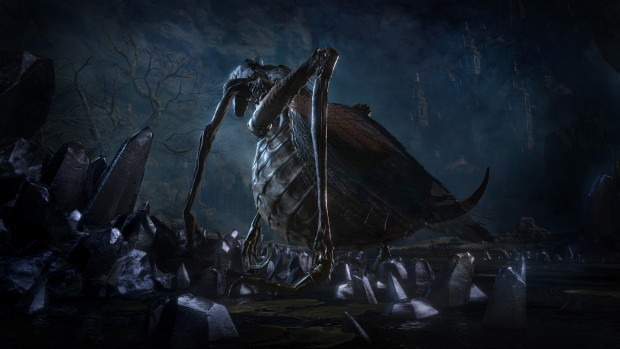 Dark Souls 3: The Ringed City giant bug near a graveyard