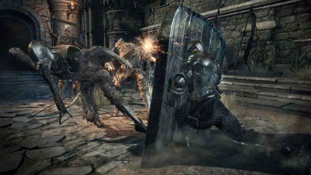 Dark Souls 3: The Ringed City screenshot showing a massive shield