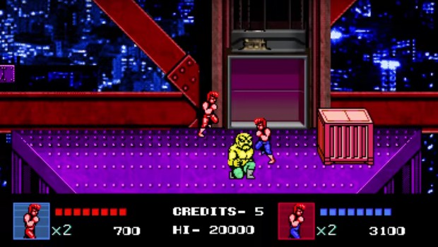 Double Dragon 4 gameplay screenshot featuring a boss fight