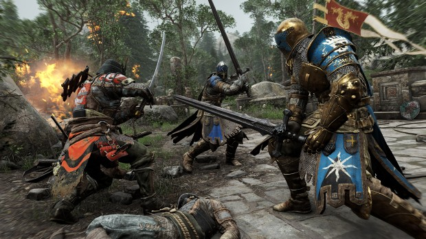 For Honor screenshot showing two knights against a samurai