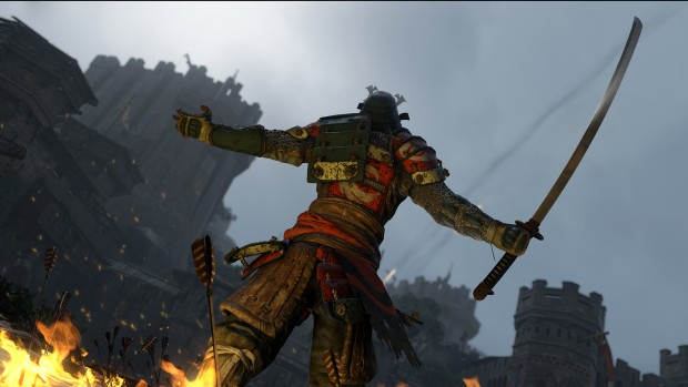 For Honor's Samurai gloating after a victory